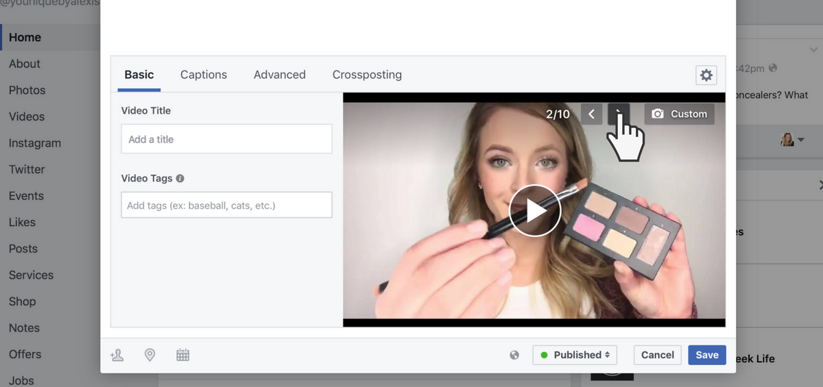 рекламное видео facebook